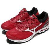 Mizuno 慢跑鞋 Wave Rider 21 紅 黑 進階款 避震穩定 運動鞋 男鞋【PUMP306】 J1GC1803-01