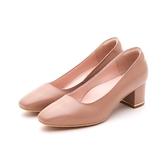 MICHELLE PARK 復古女伶 羊皮方頭寬鞋口金屬鑲嵌粗跟鞋-卡其色