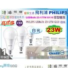 【PHILIPS飛利浦】LED燈泡 E27.LEDBulb 23W 白光.大瓦數球泡燈 純淨光 高亮度【燈峰照極my買燈】