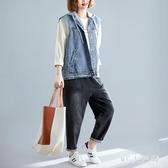 牛仔馬甲女秋季新款韓版BF上衣寬鬆連帽百搭無袖開衫馬夾外套 XN9458『MG大尺碼』