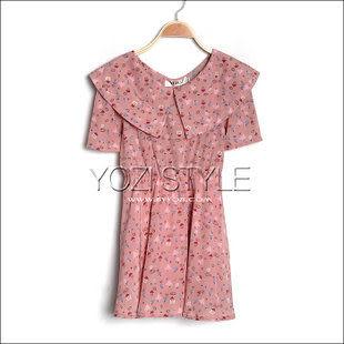 ZC136-017夏裝新品日系甜美碎花大翻領短袖雪紡綢連衣裙子