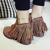 真皮短靴-低粗跟時尚磨砂雙拉鍊流蘇女靴子2色72a2【巴黎精品】