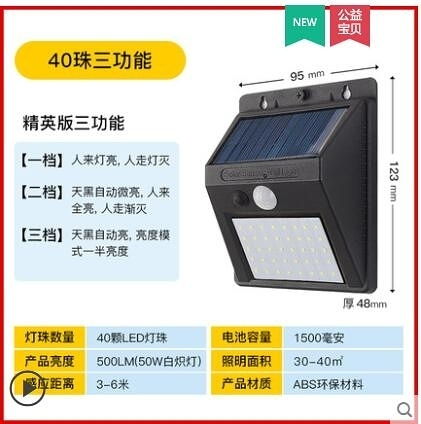 太陽能燈 太陽能路燈人體感應LED壁燈戶外防水庭院室外室內家用照明小夜燈 快速出貨YTJ
