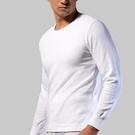 【三槍牌】男舒適雙層緹花圓領保暖衛生衣~2件組 白