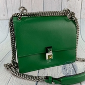 BRAND楓月 FENDI 芬迪 8M0381 綠積木鍊包 翻蓋斜背包 皮革 皮質 肩背包 側背包
