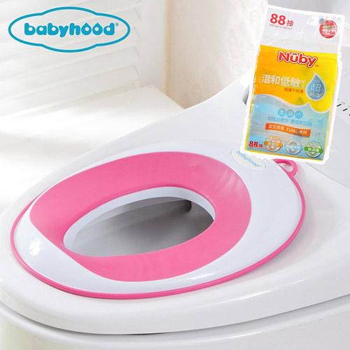 【奇買親子購物網】baby hood 兒童輔助座便圈+Nuby EDI超純水柔濕巾88抽/1串