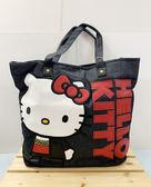 【震撼精品百貨】Hello Kitty 凱蒂貓~Sanrio HELLO KITTY側背包/肩背包-大臉牛仔#65703