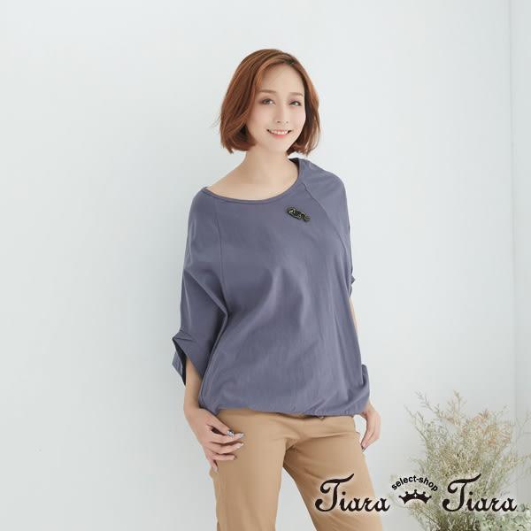【Tiara Tiara】飛鼠袖純棉x貓咪上衣(深藍/藍灰)