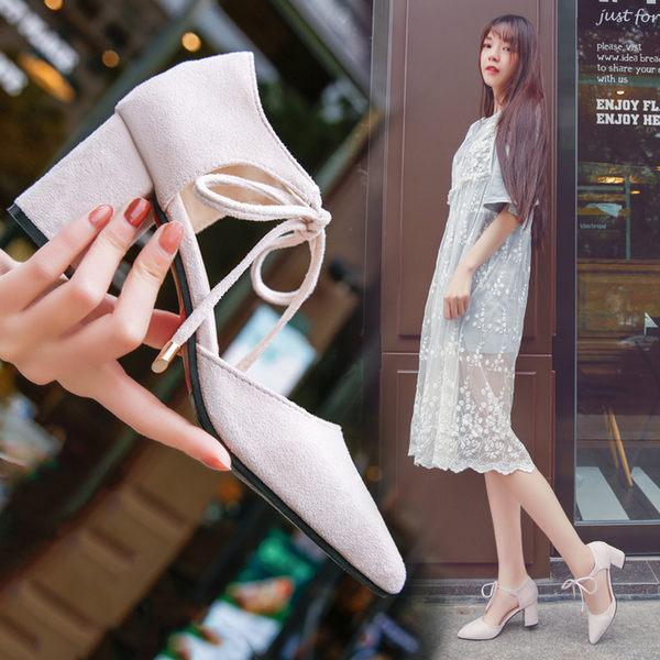 鞋女粗跟綁帶中跟高跟鞋繫帶涼鞋