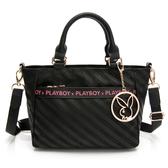 PLAYBOY- 手提包附長背帶 時尚黑潮系列 -黑色