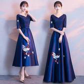 洋裝 宴會晚禮服裙高貴優雅聚會小禮服連衣裙女中長款端莊大氣 迪澳安娜