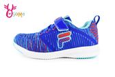 FILA 運動鞋 男童 中大童 針織 透氣 慢跑鞋O7643#藍橘◆OSOME奧森鞋業
