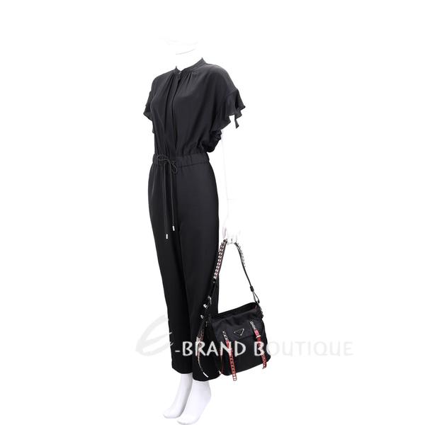 PRADA 火紅撞色皮革鉚釘尼龍手提/斜背包(黑色) 1920609-54