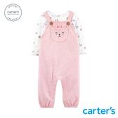 【美國 carter s】粉紅小熊吊帶褲2件組-台灣總代理