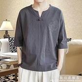 亞麻短袖t恤男夏季薄款半袖中國風潮流棉麻V領上衣男寬鬆大碼體恤 科炫數位