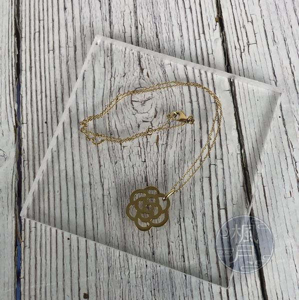 BRAND楓月 CHANEL 香奈兒 山茶花 鏤空 玫瑰金 K18 6.2G 項鍊 墜鍊 綴飾 首飾 配件 配飾