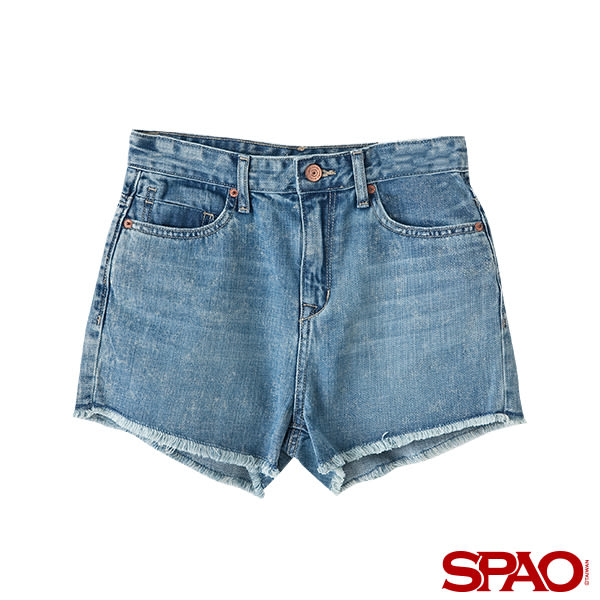 SPAO女款休閒抽鬚牛仔短褲