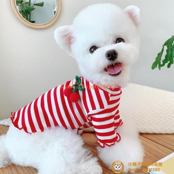 櫻桃條紋打底夏季狗狗衣服雪納瑞法斗貓咪泰迪比熊衣服寵物小型犬小狗狗【小獅子】