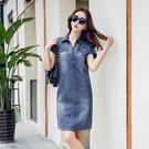 夏裝韓版新款寬鬆顯瘦中長做舊口袋時尚氣質...