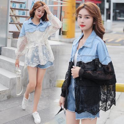 牛仔外套女時尚拼接蕾絲刺繡假兩件寬鬆薄款防曬衣F 1139夏季紅粉佳人