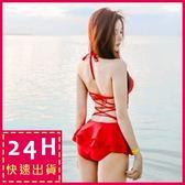 現貨★梨卡 - 日不落之戀連身泳裝 [顯瘦、集中有鋼圈]性感大露背小荷葉綁帶 - C538