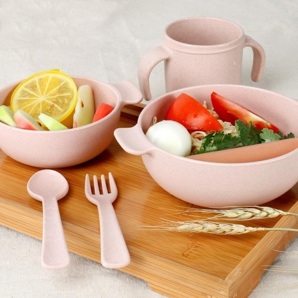 ▶海興小麥秸稈餐具套裝 環保防燙雙耳兒童湯面米飯碗 勺叉杯子組合