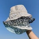 小雛菊蕾絲刺繡漁夫帽2020新款夏季百搭太陽帽花朵鏤空防曬帽子女 滿天星