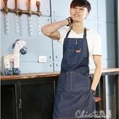 牛仔布咖啡店師純棉帆布廚房男女繪畫韓版時尚工作服定制logo秒殺價 七色堇