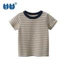 男童短袖 27kids品牌童裝夏季新款兒童T恤男童短袖彈力棉條紋歐美小童上衣 歐歐