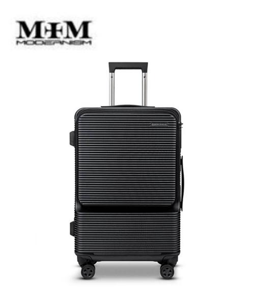 MOM JAPAN 19吋 MODERNISM 前開式多功能電腦商務旅行箱/登機箱-黑