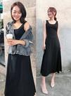 背心長裙女夏裝新品裙子長版無袖打底裙黑色中大尺碼連身裙