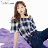 Victoria肩抽縐短袖T-女-黃/藍白-M