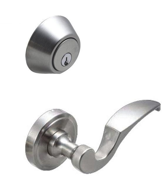 加安水平鎖LYK603+輔助鎖D261 通道鎖 房門鎖單面 鎖閂60mm 卡巴鎖匙 銀色