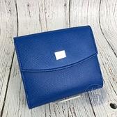 BRAND楓月 SALVATORE FERRAGAMO 海藍色 皮革 小標 三折 短夾 錢夾 錢包 中夾