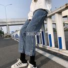 春季牛仔褲女高腰顯瘦百搭寬鬆闊腿新款女裝卷邊老爹直筒褲子 快速出貨