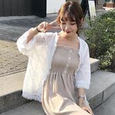 黑色好物節 夏裝女裝韓版寬鬆流蘇邊七分袖刺繡雪紡衫防曬衫開衫上衣
