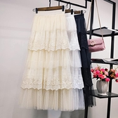 蕾絲網紗蛋糕半身裙2021秋冬新款a字顯瘦高腰中長款超仙女紗裙子 伊蘿