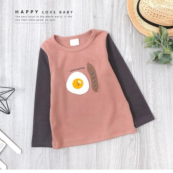 純棉 元氣早餐太陽蛋香腸拼接袖上衣 毛線繡 磨毛 塗鴉 北歐風 秋冬長袖 女童裝