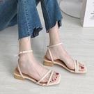 法式復古壹字帶羅馬鞋女流行女鞋新款涼鞋夏季百搭粗跟ins潮