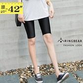安全褲--簡約百搭修腿顯瘦清涼超彈力絲滑薄款五分光澤內搭褲(黑M-3L)-R236眼圈熊中大尺碼◎
