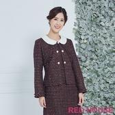 【RED HOUSE 蕾赫斯】珍珠釦毛呢外套(紅色)