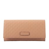 【GUCCI】Guccissima壓紋牛皮壓釦式多卡長夾(粉膚色) 449396 BMJ1G 2754