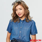 BOBSON 女款有機棉、短版牛仔襯衫(27124-53)