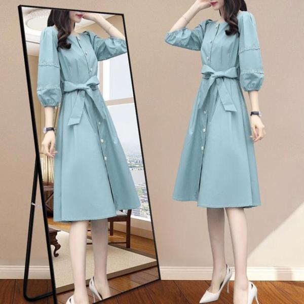 雪紡洋裝 裙子仙女超仙森系年新款夏天收腰顯瘦氣質法式雪紡洋裝 雙十二全館免運