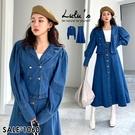 LULUS【A01200709】E兩件式-排釦牛仔外套+長裙深藍