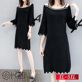 可愛鋸齒剪裁喇叭袖針織連身裙 XL-5XL O-Ker歐珂兒 155006-C