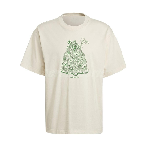 adidas 短袖T恤 Original Tee Stan Unite 米白 綠 男款 短T 運動休閒 【ACS】 GQ8872
