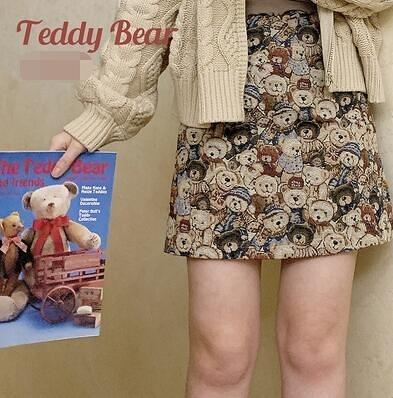 可愛半身短裙古著感提花小熊