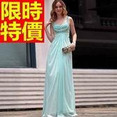 晚宴服-大方奢華甜美修身藍色雙肩長款女晚禮服1色65c20[巴黎精品]