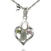 項鍊 925純銀葡萄石墜子-可愛心型生日情人節禮物女飾品73de206【時尚巴黎】